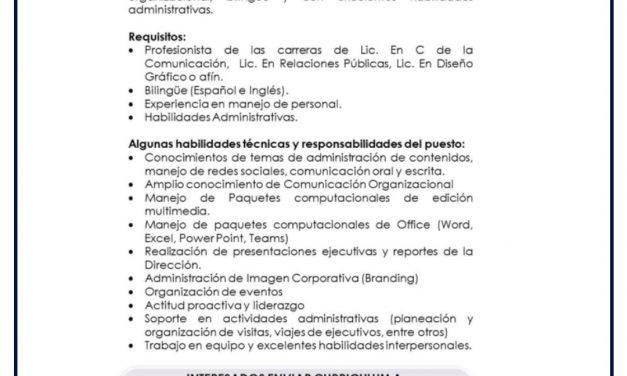 VACANTE COORDINADOR ADMINISTRATIVO Y COMUNICACION