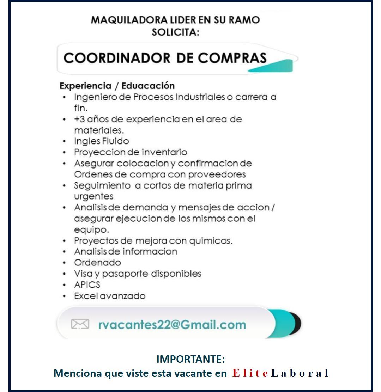 VACANTE COORDINADOR DE COMPRAS