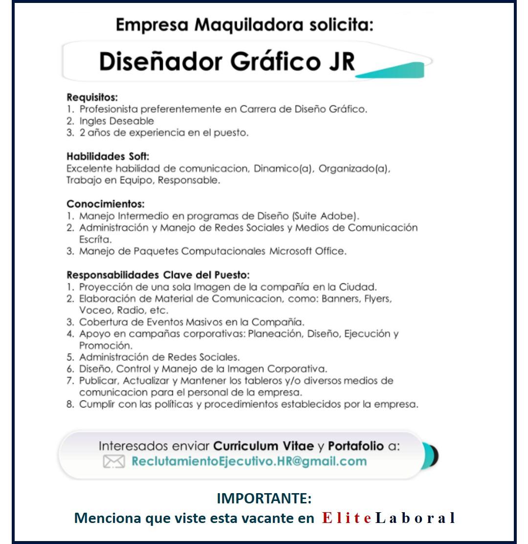 VACANTE DISEÑADOR GRAFICO JR