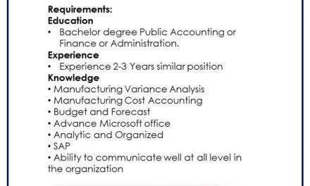 VACANTE FINANCIAL ANALYST