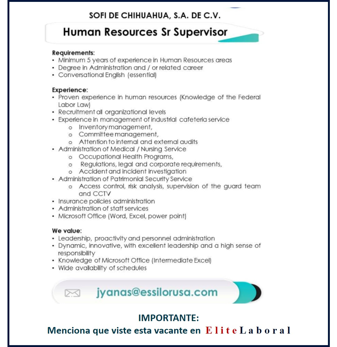 VACANTE HUMAN RESOURCES SR SUPERVISOR