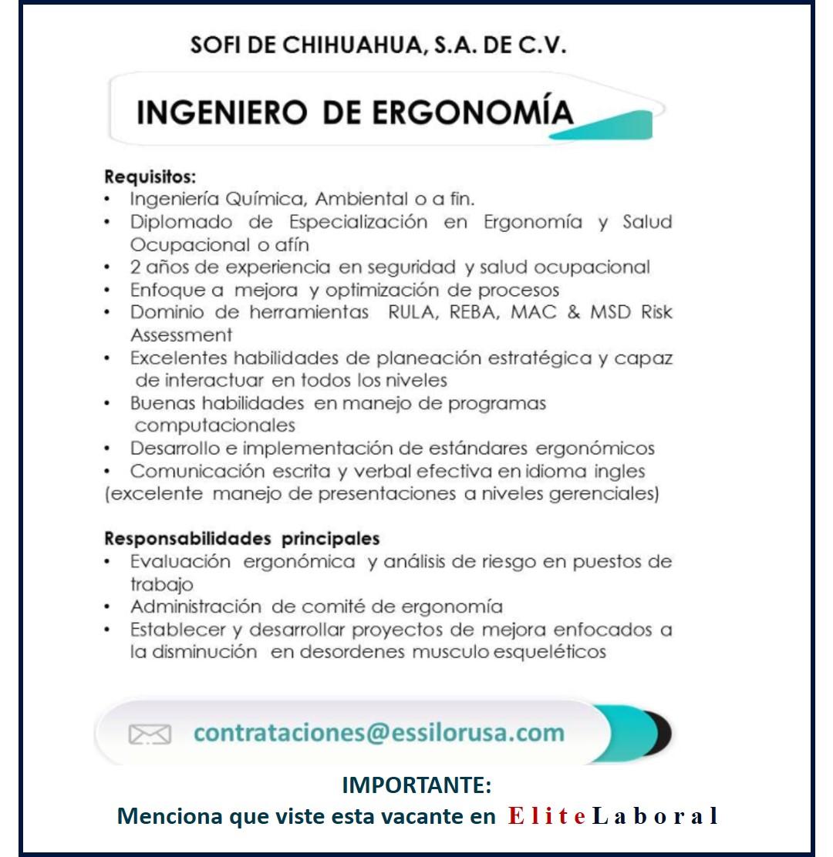 VACANTE INGENIERO DE ERGONOMIA