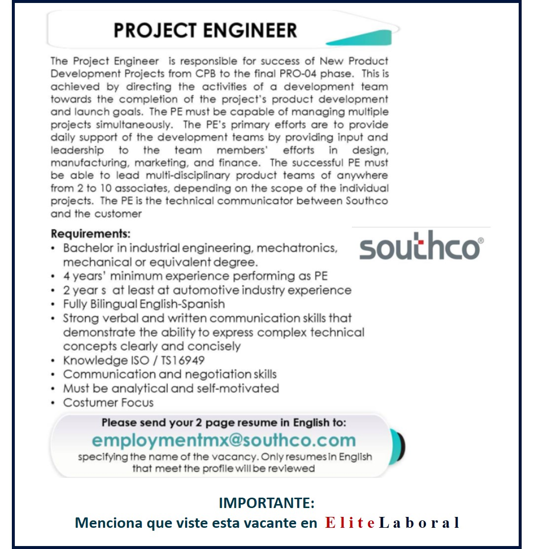 VACANTE PROJECT ENGINEER