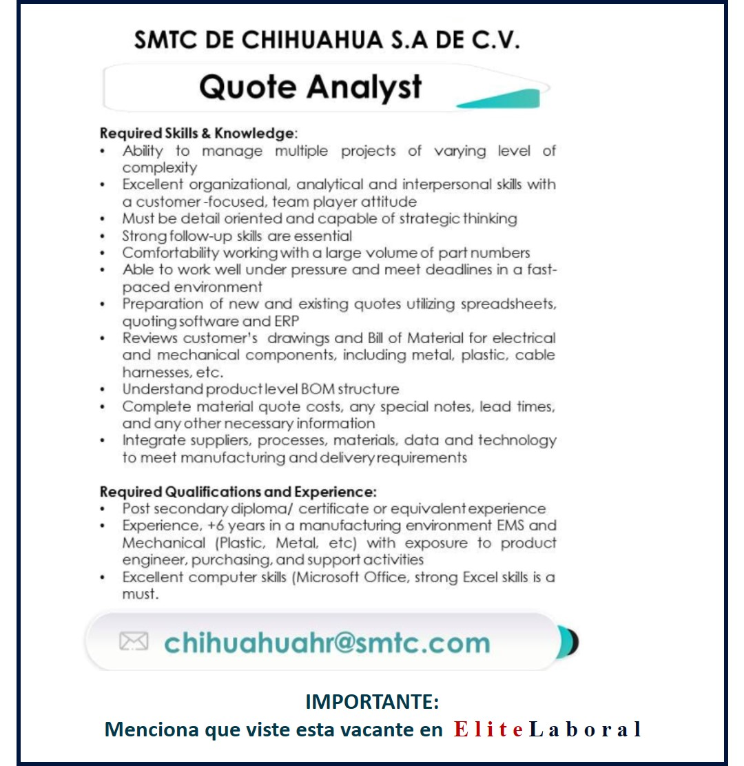 VACANTE QUOTE ANALYST