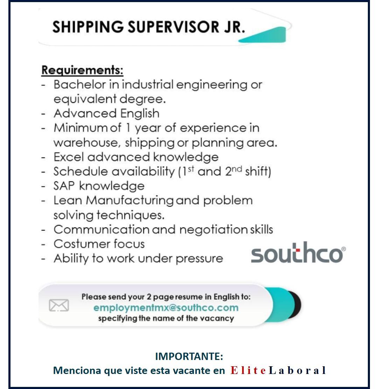 VACANTE SHIPPING SUPERVISOR JR