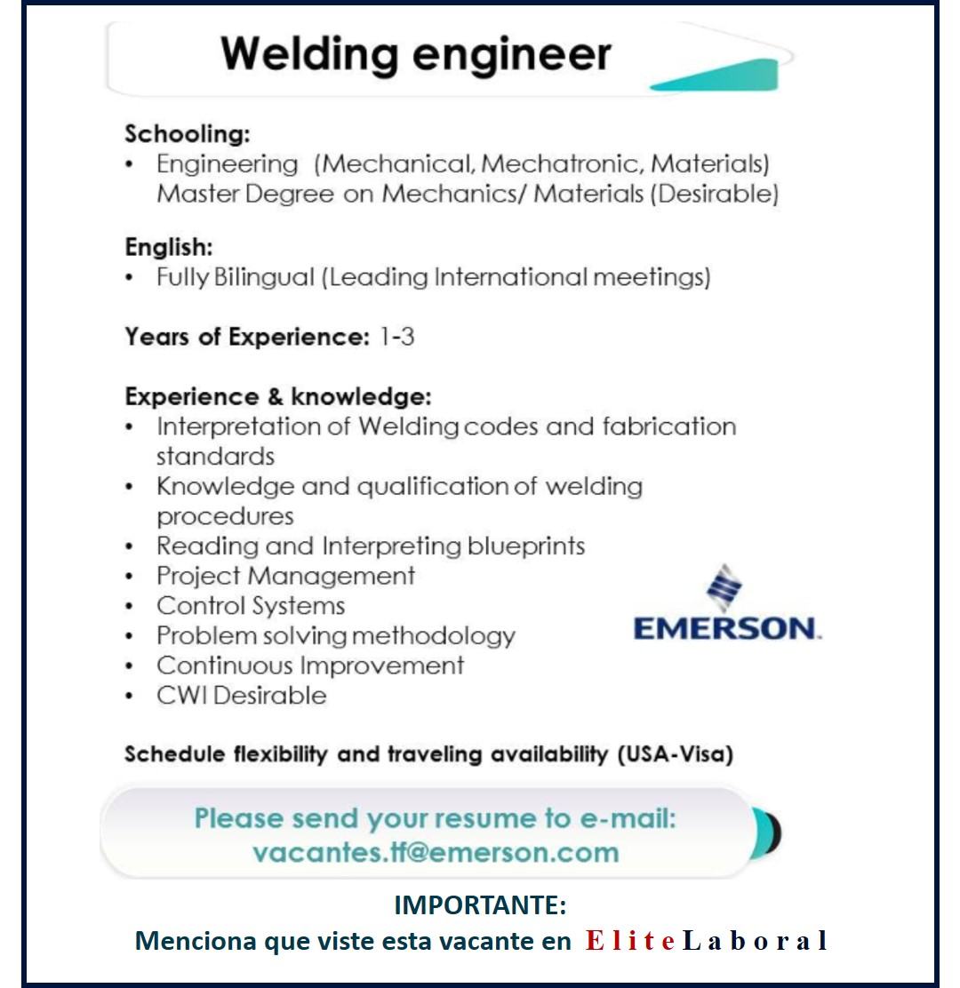 VACANTE WELDING ENGINEER