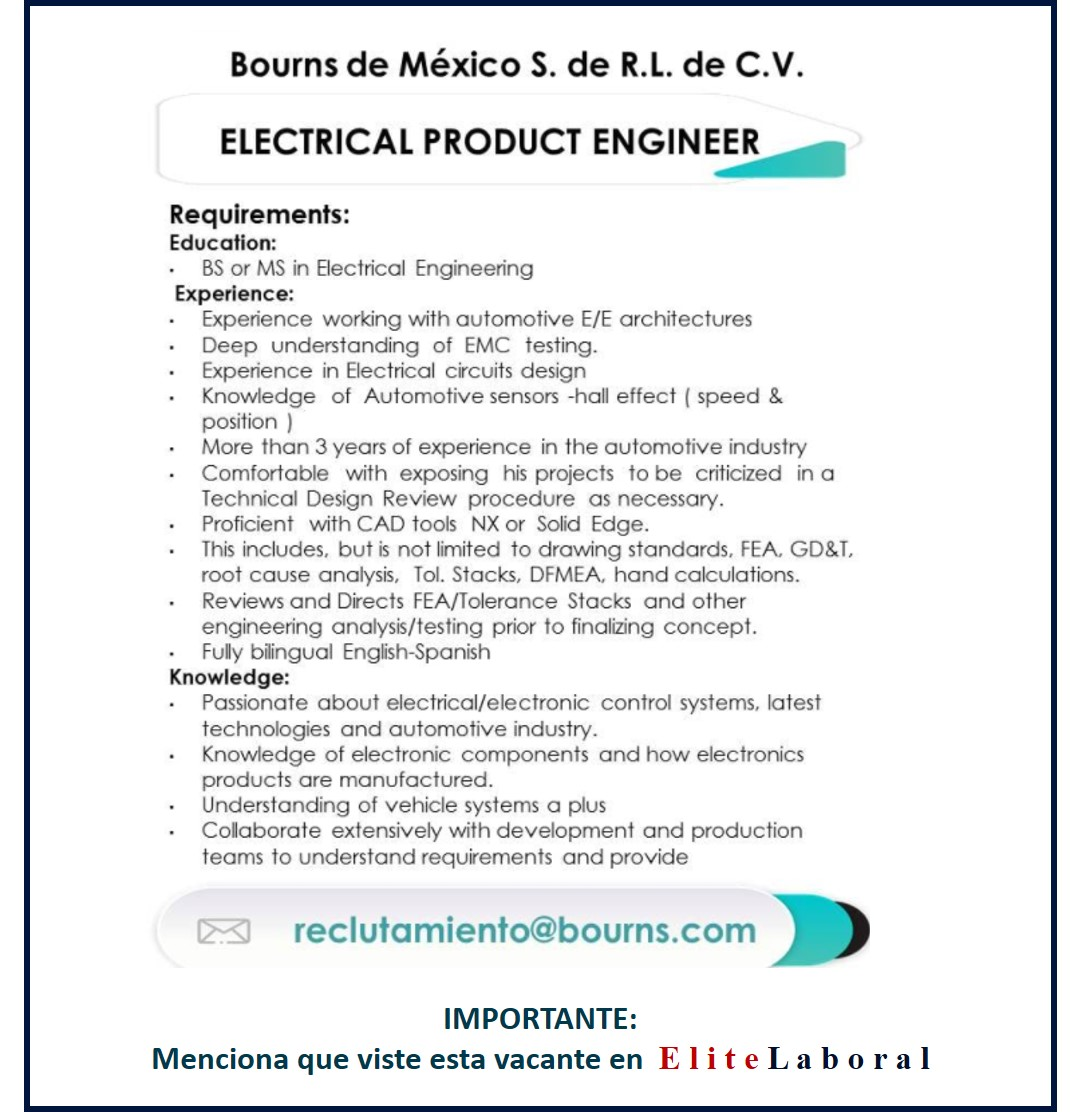 VACANTE ELECTRICAL PRODUCT ENGINEER