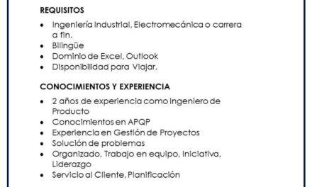 VACANTE INGENIERO DE PRODUCTO PLANTA II