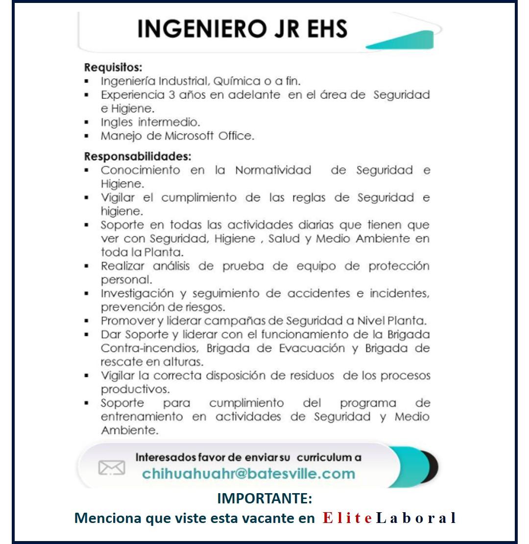 VACANTE INGENIERO JR EHS
