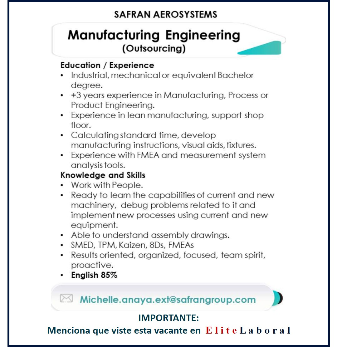 VACANTE MANUFACTURING ENGINEERING