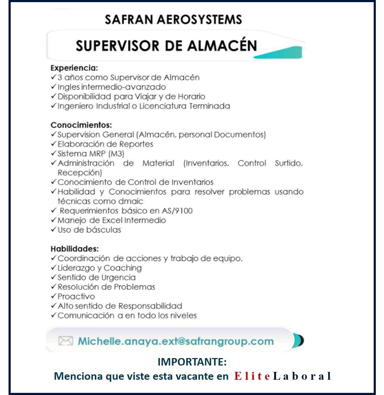 VACANTE SUPERVISOR DE ALMACEN