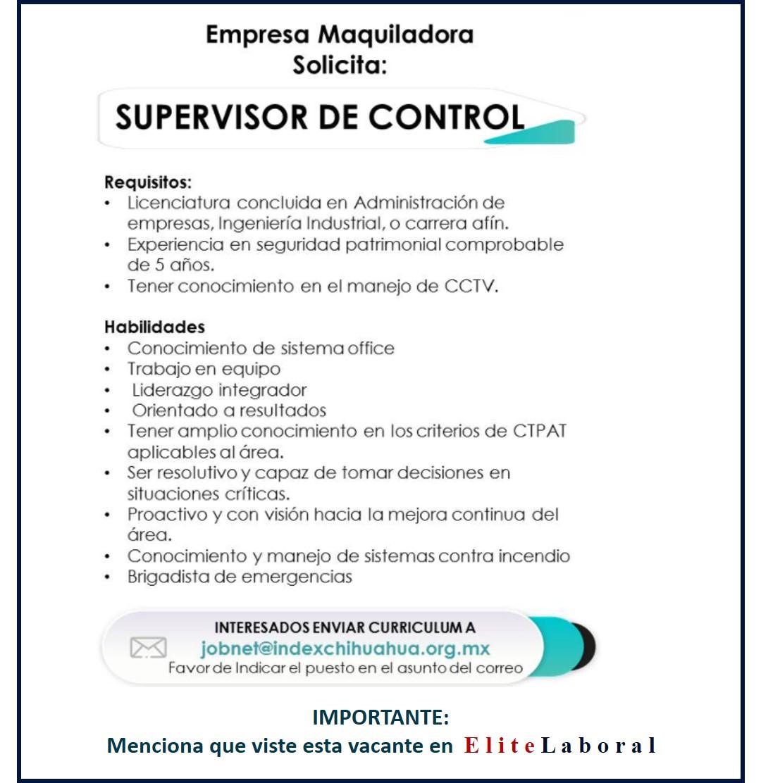 VACANTE SUPERVISOR DE CONTROL