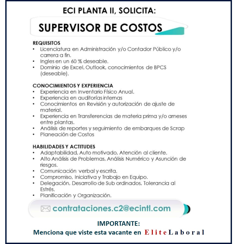 VACANTE SUPERVISOR DE COSTOS