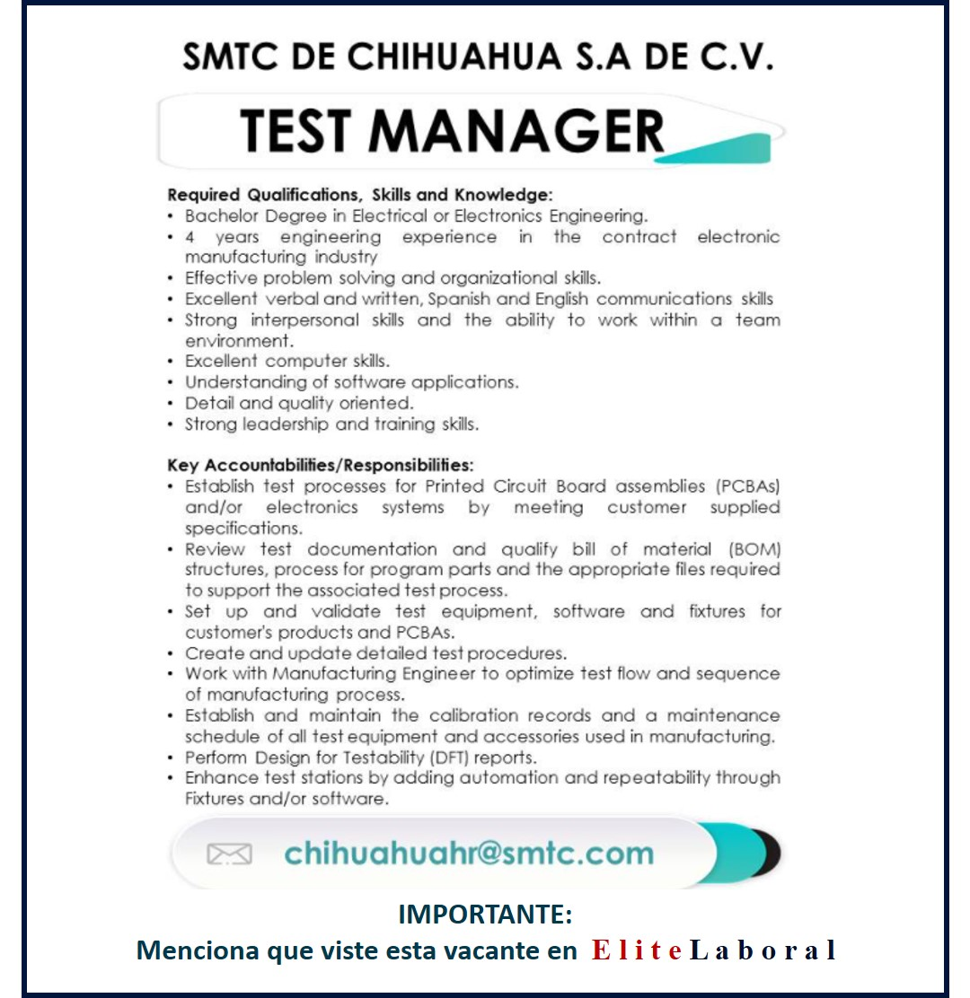 VACANTE TEST MANAGER