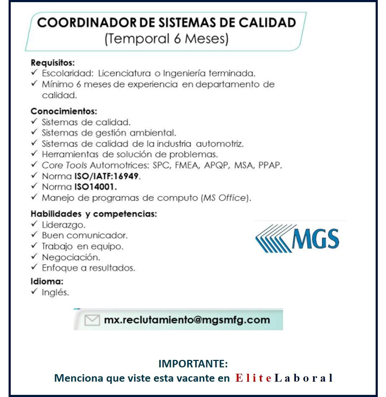 VACANTE COORDINADOR DE SISTEMAS DE CALIDAD