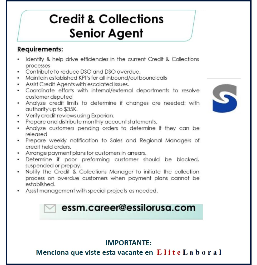 VACANTE CREDIT & COLLECTIONS SENIOR AGENT