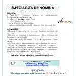 VACANTE ESPECIALISTA DE NOMINA