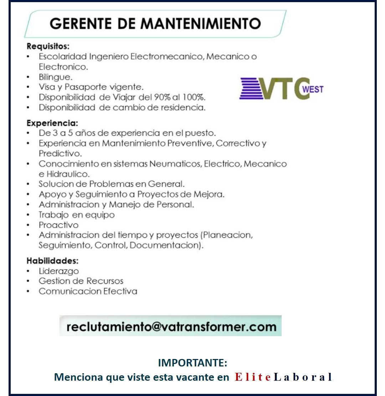VACANTE GERENTE DE MANTENIMIENTO