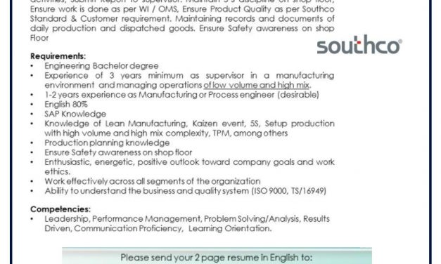 VACANTE PRODUCTION SUPERVISOR 3RD SHIFT