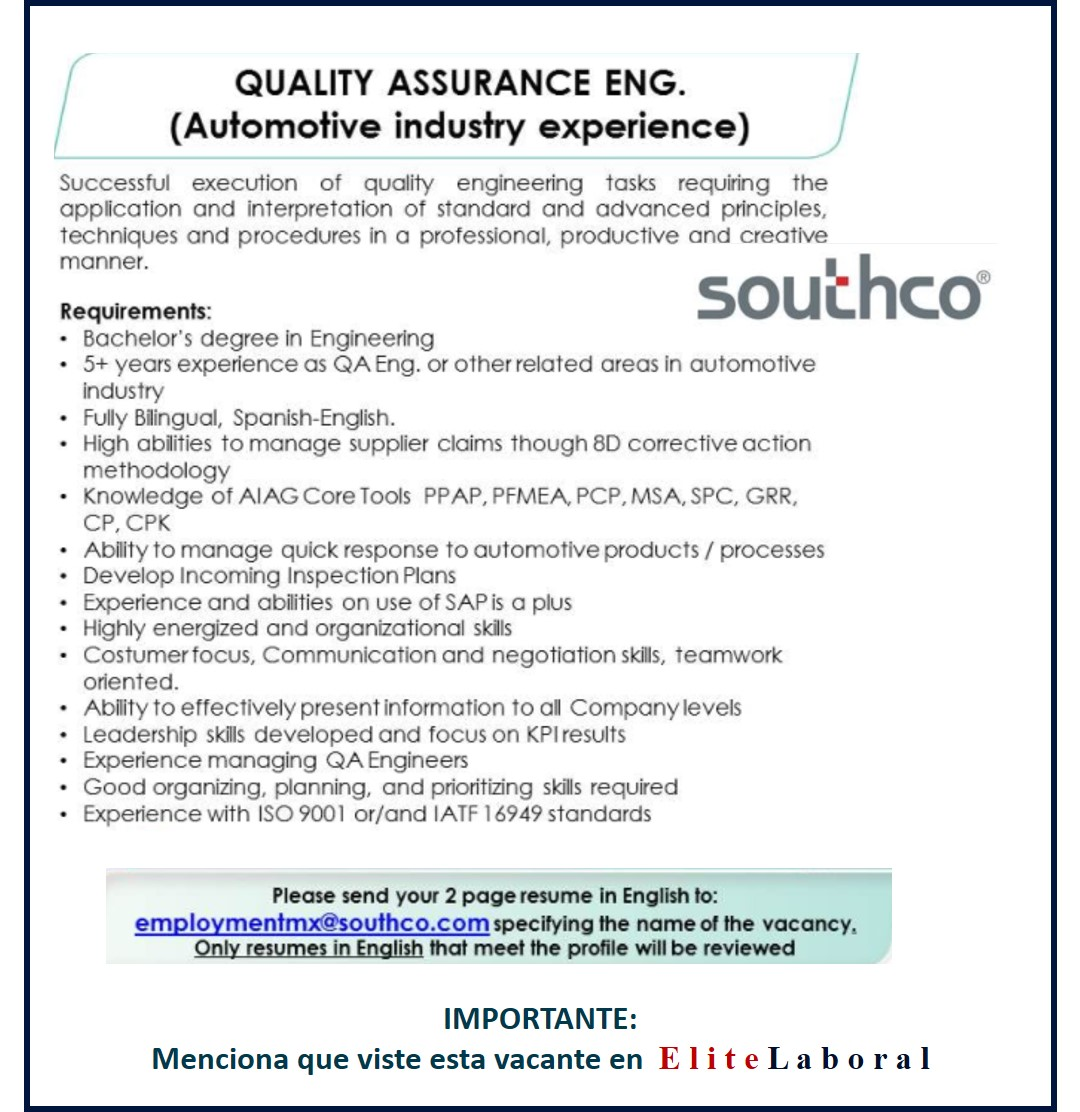 VACANTE QUALITY ASSURANCE ENGINEER