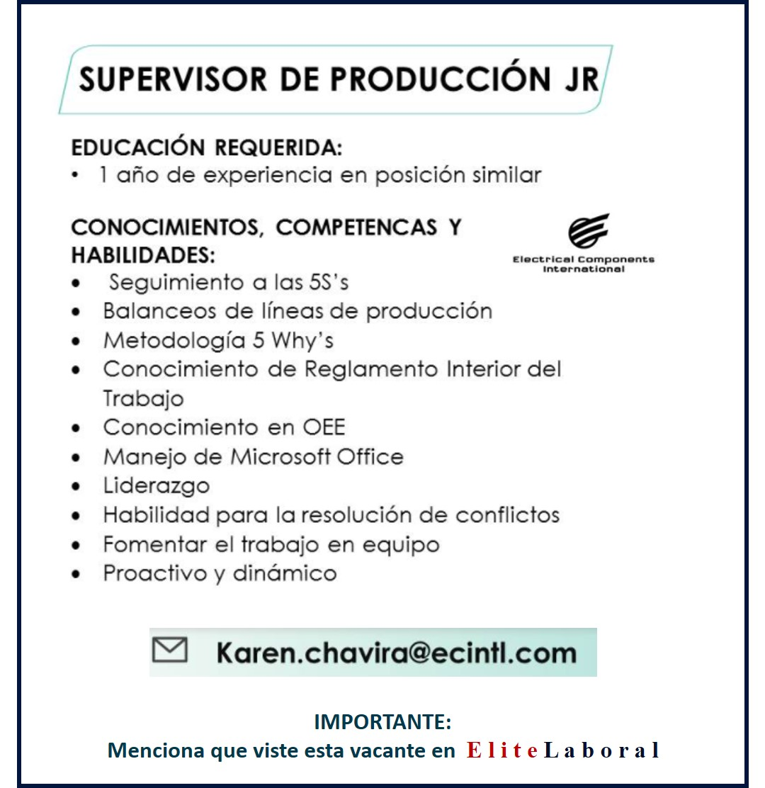 VACANTE SUPERVISOR DE PRODUCCION JR