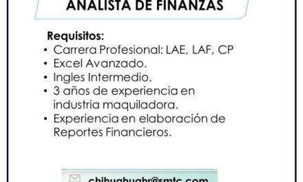 VACANTE ANALISTA DE FINANZAS
