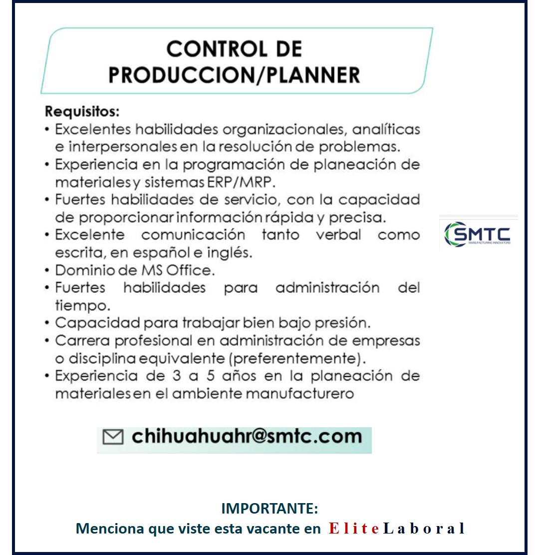 VACANTE CONTROL DE PRODUCCION PLANNER