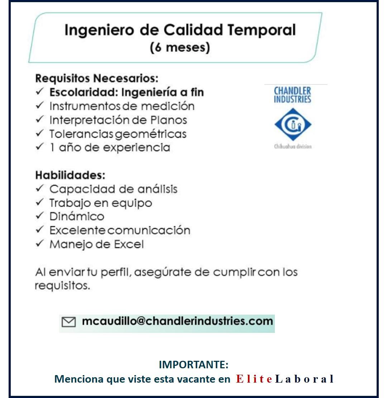 VACANTE INGENIERO DE CALIDAD TEMPORAL