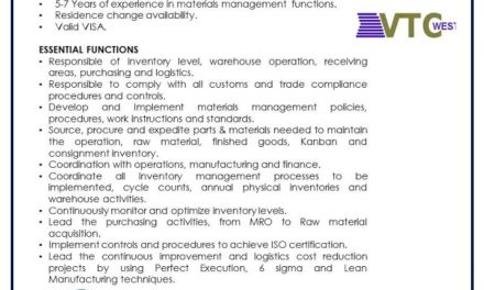 VACANTE MATERIALS CONTROL MANAGER