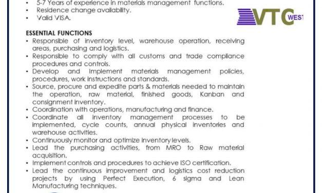 VACANTE MATERIALS CONTROL MANAGER