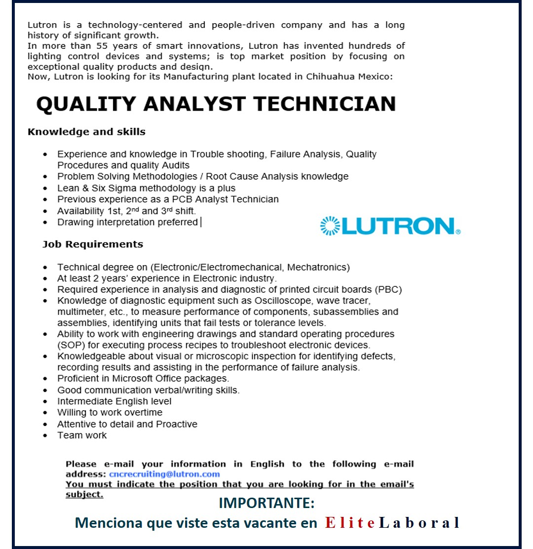 VACANTE QUALITY ANALYST TECHNICIAN