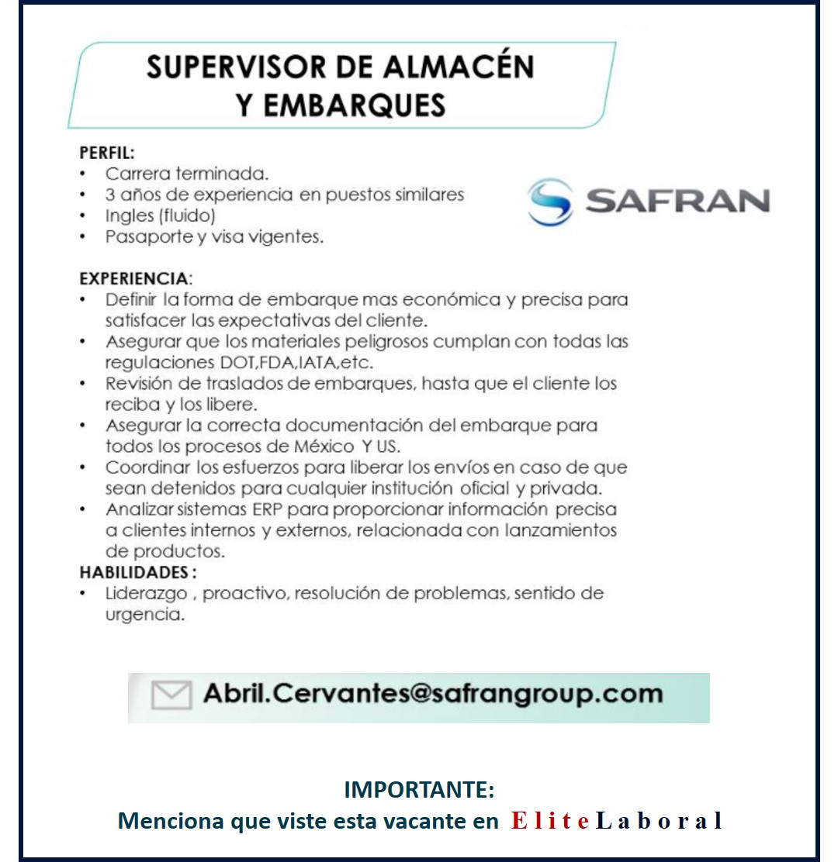 VACANTE SUPERVISOR DE ALMACEN Y EMBARQUES