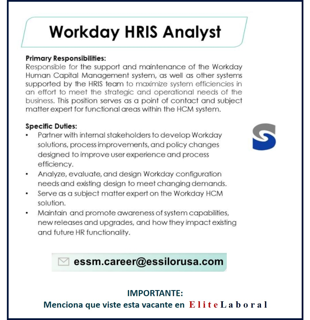 VACANTE WORKDAY HRIS ANALYST
