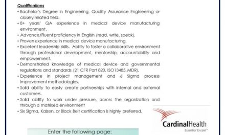 VACANTE QUALITY MANAGER MANUFACTURING