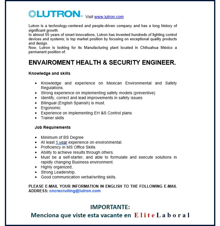 VACANTE ENVAIROMENT HEALTH & SECURITY ENGINEER