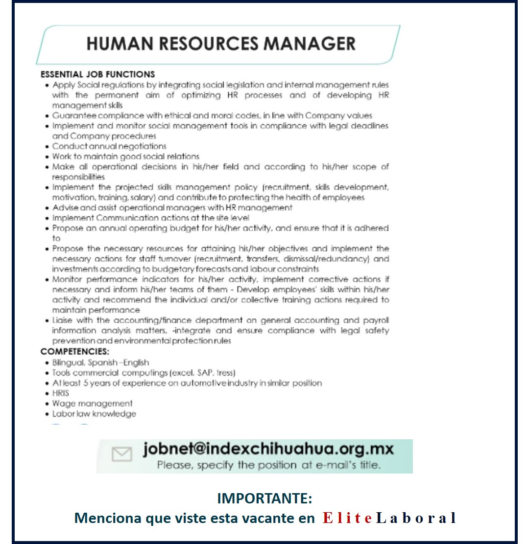 VACANTE HUMAN RESOURCES MANAGER