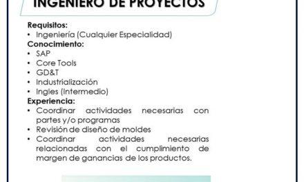 VACANTE INGENIERO DE PROYECTOS