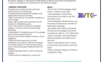 VACANTE MECHANICAL DESING ENGINEER