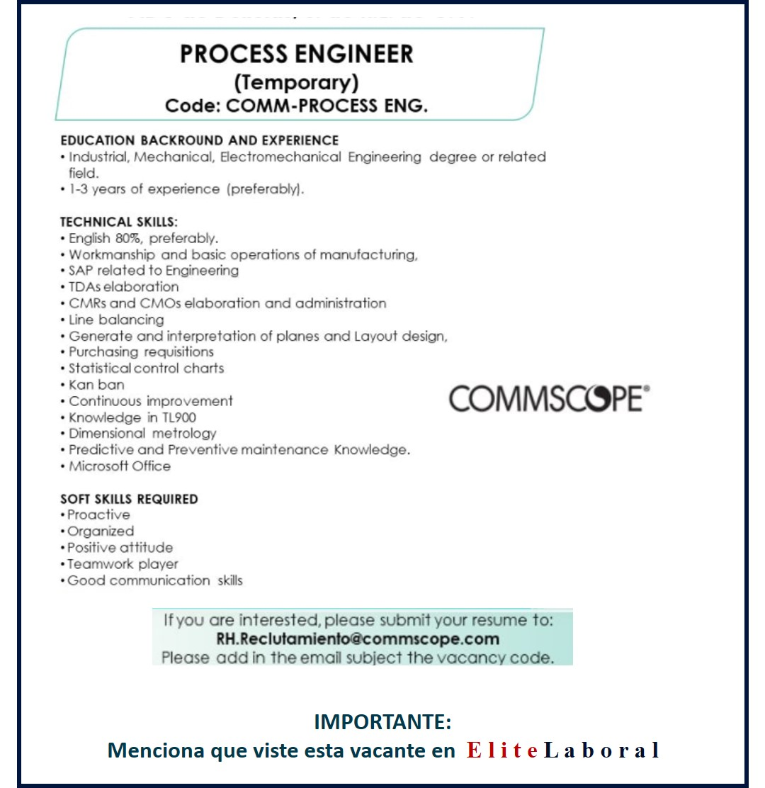 VACANTE PROCESS ENGINEER