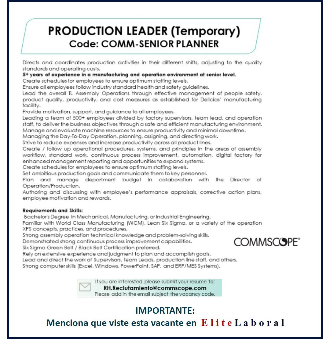 VACANTE PRODUCTION LEADER