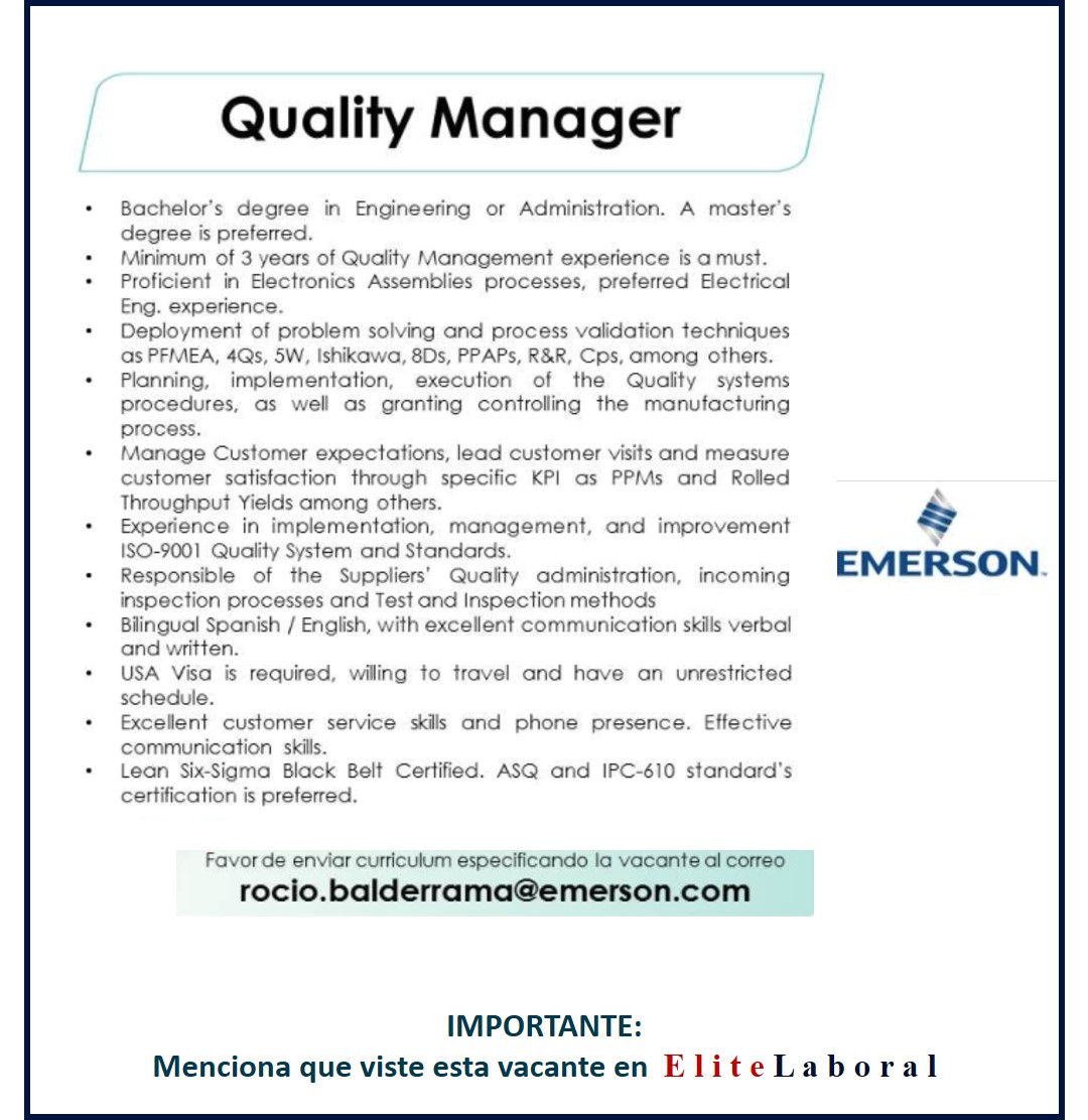 VACANTE QUALITY MANAGER