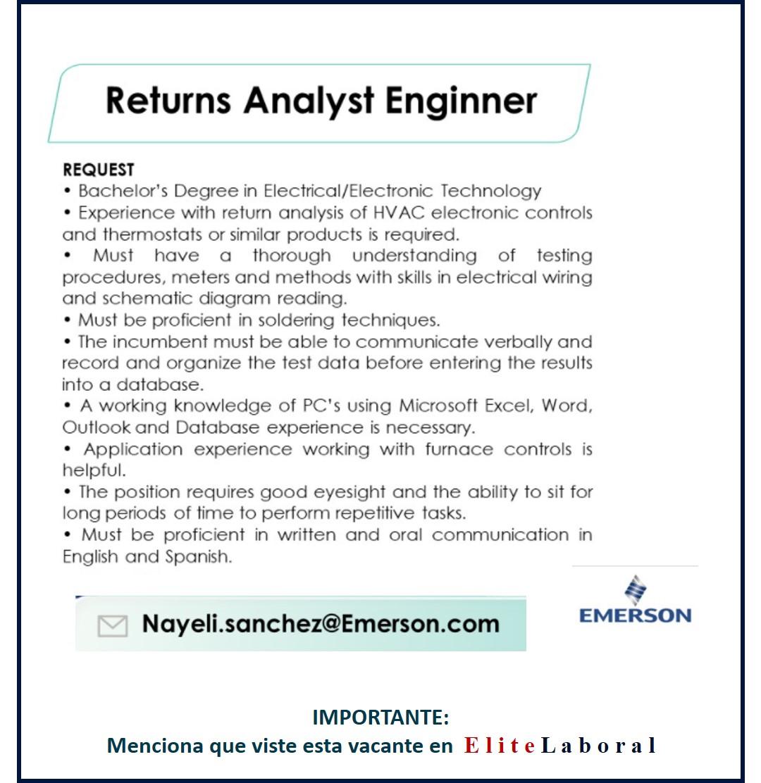 VACANTE RETURNS ANALYST ENGINEER