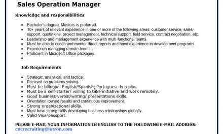 VACANTE SALES OPERATION MANAGER LUTRON