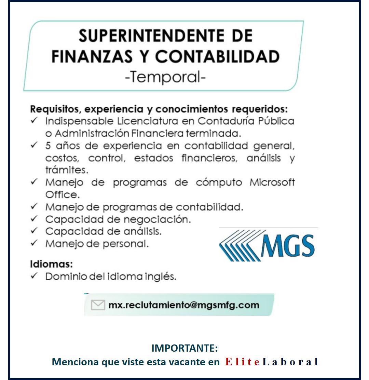 VACANTE SUPERINTENDENTE DE FINANZAS Y CONTABILIDAD