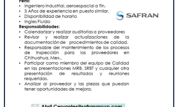 VACANTE SUPPLIER QUALITY ENGINEER