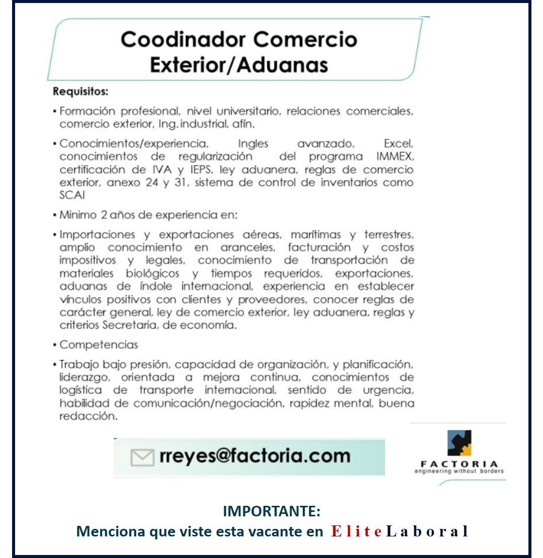 VACANTE COORDINADOR COMERCIO EXTERIOR ADUANAS