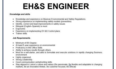 VACANTE EH&S ENGINEER (LUTRON)