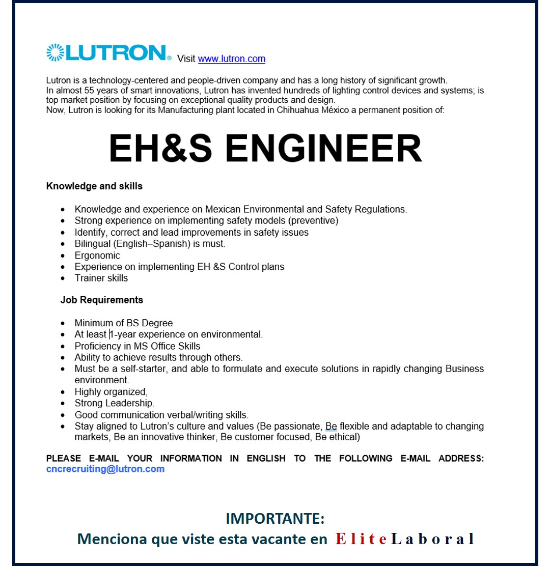 VACANTE EH&S ENGINEER (LUTRON)