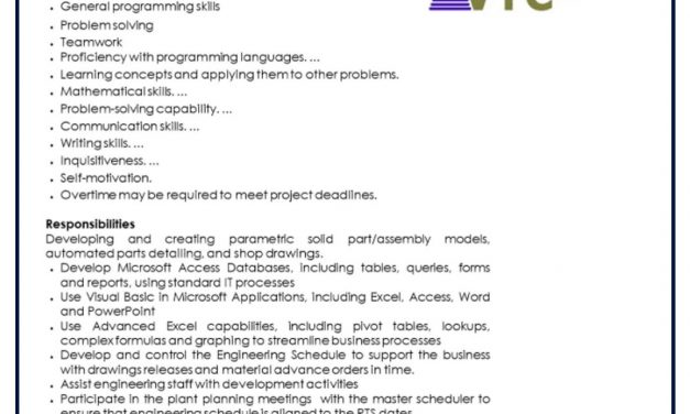 VACANTE ENGINEERING SCHEDULER AND DEVELOPER