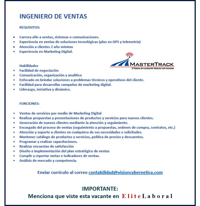 VACANTE INGENIERO DE VENTAS